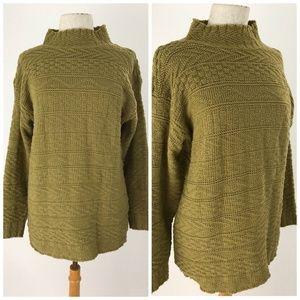 Vintage Textured Mock Neck Sweater